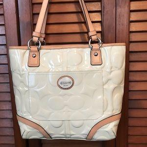 Coach Off White Patent Leather Handbag